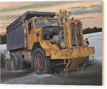 Autocar Dumptruck Wood Print by Stuart Swartz