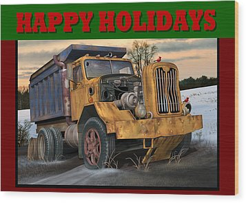 Wood Print featuring the digital art Autocar Happy Holidays by Stuart Swartz