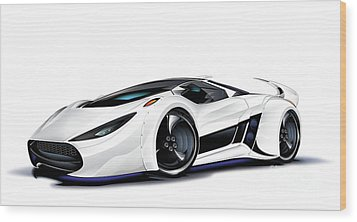Wood Print featuring the drawing Automobili Lamborghini Concept by Brian Gibbs