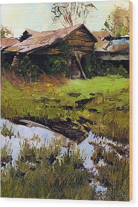 Wood Print featuring the painting Autum Countryside by Sergey Zhiboedov