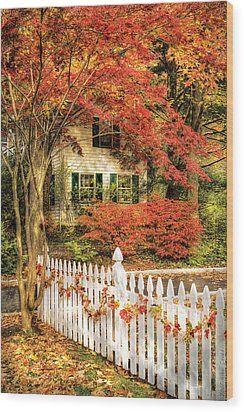 Autumn - House - Festive  Wood Print by Mike Savad