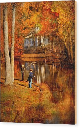 Autumn - People - Gone Fishing Wood Print by Mike Savad