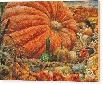 Autumn - Pumpkin - Great Gourds Wood Print by Mike Savad