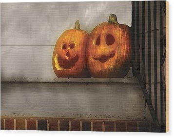 Autumn - Pumpkins - Two Goofy Pumpkins Wood Print by Mike Savad