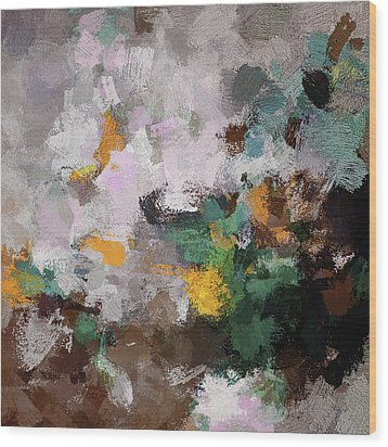 Wood Print featuring the painting Autumn Abstract Painting by Ayse Deniz