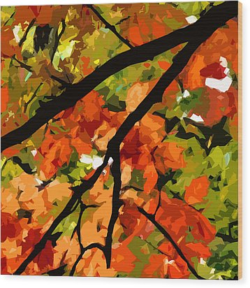 Autumn Ablaze Wood Print