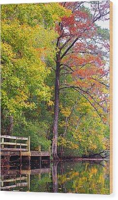 Autumn Along Brices Creek Wood Print by Bob Decker