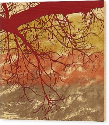 Wood Print featuring the digital art Autumn Art by Milena Ilieva
