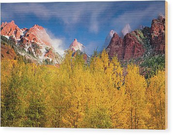 Wood Print featuring the photograph Autumn Aspens by Andrew Soundarajan