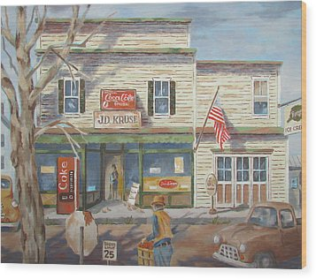 Wood Print featuring the painting Autumn At The Corner Country Store by Tony Caviston