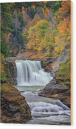 Autumn At The Lower Falls Wood Print by Rick Berk