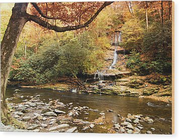 Wood Print featuring the photograph Autumn At Tom Branch Falls  by Bob Decker