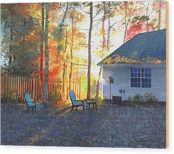 Autumn Backyard Wood Print by Sergey Zhiboedov
