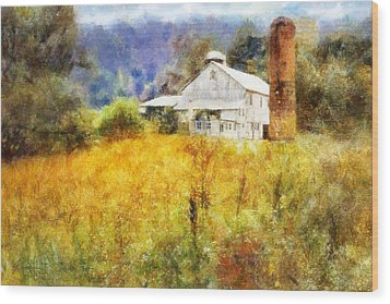 Wood Print featuring the digital art Autumn Barn In The Morning by Francesa Miller