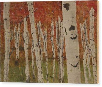 Autumn Birch Forest Wood Print by Betty-Anne McDonald