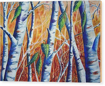 Autumn Birch Wood Print by Joanne Smoley