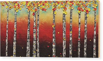 Wood Print featuring the painting Autumn Birch Trees by Carmen Guedez