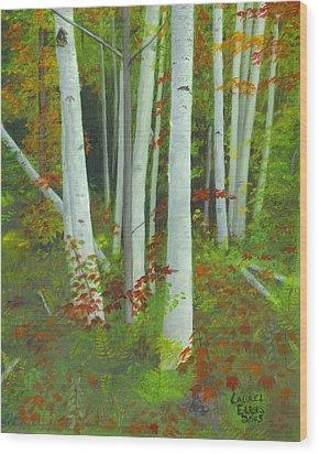 Autumn Birches Wood Print by Laurel Ellis