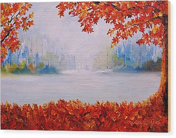 Autumn Blaze Maple Trees Wood Print