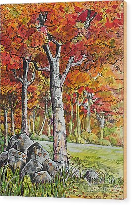 Autumn Bloom Wood Print by Terry Banderas