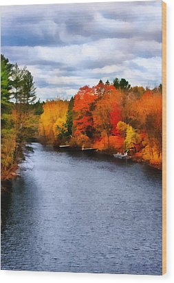 Autumn Channel Wood Print