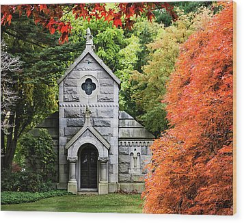Autumn Chapel Wood Print