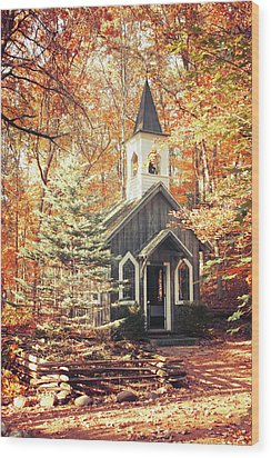 Autumn Chapel Wood Print by Joel Witmeyer