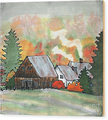 Autumn Chill Silk Painting Wood Print by Linda Marcille