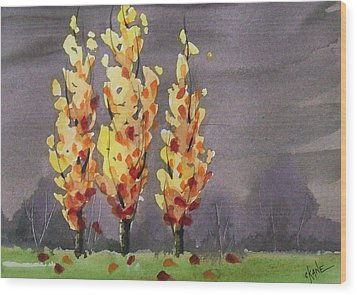 Autumn Cold Rain Wood Print by Christine Camp