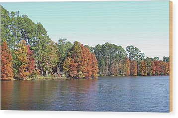 Wood Print featuring the photograph Autumn Color At Ratcliff Lake by Jayne Wilson