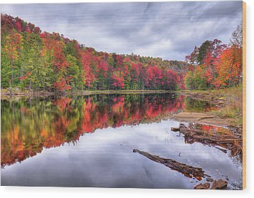 Wood Print featuring the photograph Autumn Color At The Pond by David Patterson