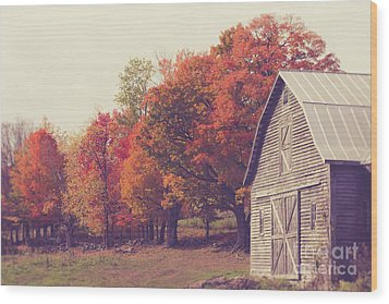 Autumn Color On The Old Farm Wood Print by Edward Fielding