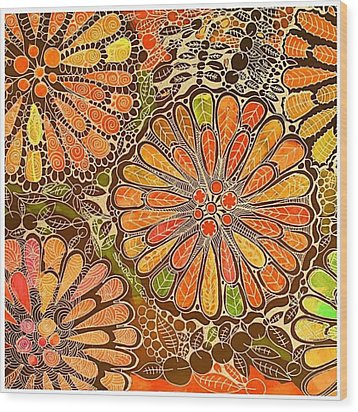 Autumn  Colors Mandalas  Wood Print