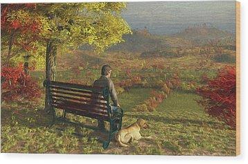 Wood Print featuring the digital art Autumn Companions by Jayne Wilson