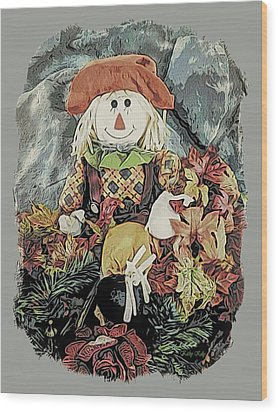 Wood Print featuring the digital art Autumn Country Scarecrow by Kathy Kelly