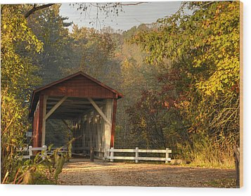 Autumn Covered Bridge Wood Print