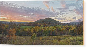 Autumn Dawn At Moodna Viaduct Trestle Panorama  Wood Print