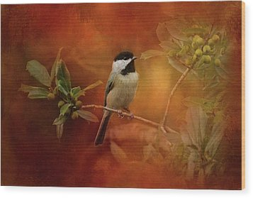 Autumn Day Chickadee Bird Art Wood Print