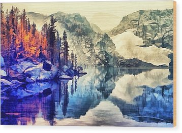 Autumn Day On The Lake. Wood Print
