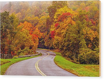 Autumn Drive On The Blue Ridge Wood Print by Alex Grichenko
