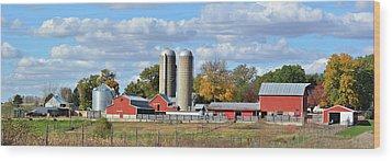 Autumn Elk Farm Wood Print