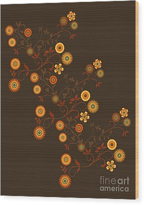 Wood Print featuring the digital art Autumn Flower Explosion by Methune Hively
