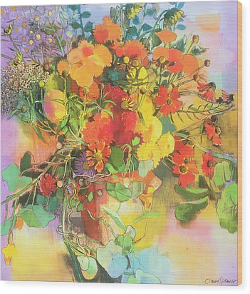 Autumn Flowers  Wood Print by Claire Spencer