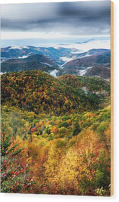 Autumn Foliage On Blue Ridge Parkway Near Maggie Valley North Ca Wood Print