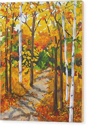 Autumn Forest Trail Wood Print