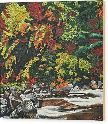 Autumn Frost Wood Print by Donna Blossom