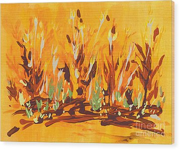 Wood Print featuring the painting Autumn Garden by Holly Carmichael