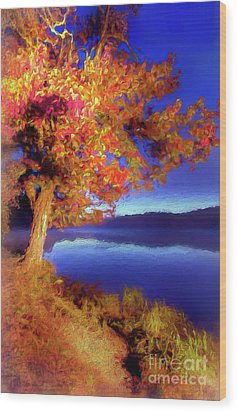 Wood Print featuring the digital art Autumn Glow Before Sunrise In The Blue Ridge Ap by Dan Carmichael