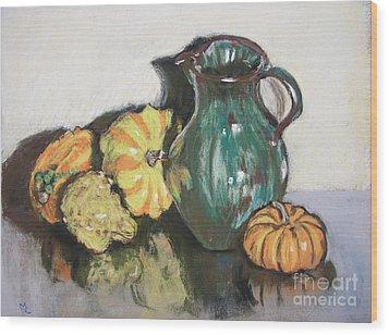 Autumn Gourds Wood Print