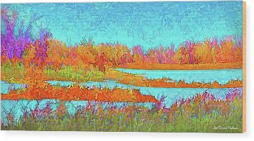 Wood Print featuring the digital art Autumn Grassy Meadow With Floating Lakes by Joel Bruce Wallach